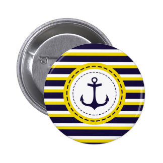 Nautical Navy Blue Yellow Stripes Anchor Design Pinback Button