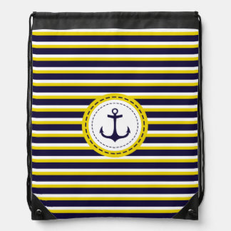 Nautical Navy Blue Yellow Stripes Anchor Design Drawstring Bags