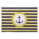 Nautical Navy Blue Yellow Stripes Anchor Design Placemats