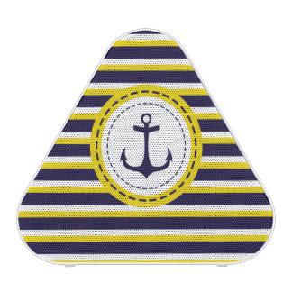 Nautical Navy Blue Yellow Stripes Anchor Design Speaker