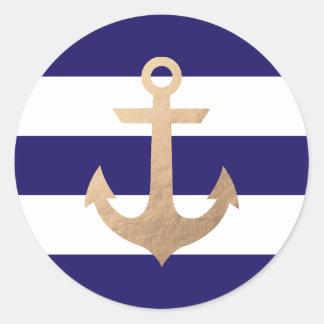Nautical Navy Classic Round Sticker