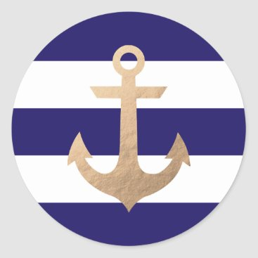 Beach Themed Nautical Navy Classic Round Sticker