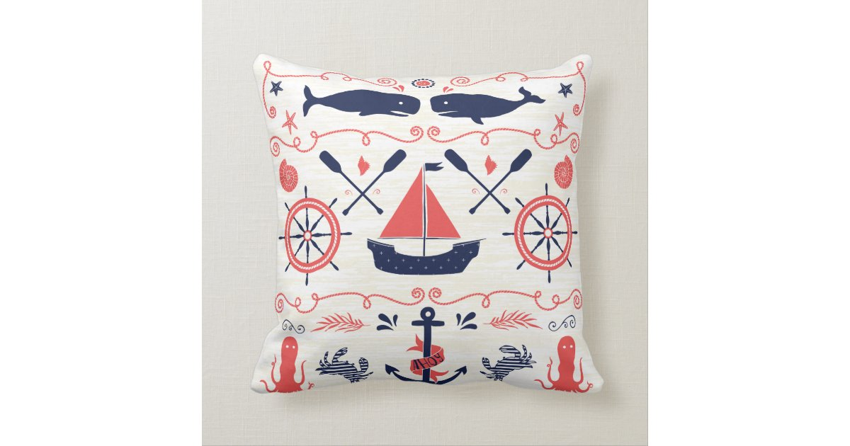 Nautical Navy Coral Boy Nursery Baby Birth Stat Throw Pillow Zazzle
