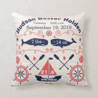 Nautical Navy Coral Boy Nursery Baby Birth Stat Throw Pillow