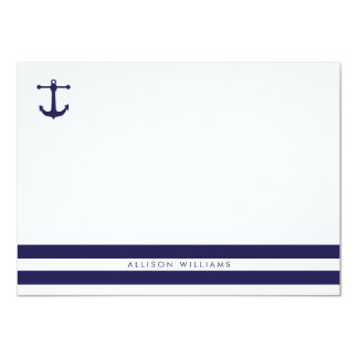 Nautical Navy Flat Note Cards Personalized Invites