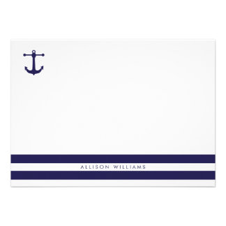 Nautical Navy Flat Note Cards Invitations