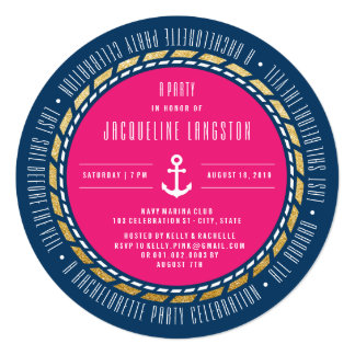 Nautical Navy Glam Chic Bachelorette Party Invite