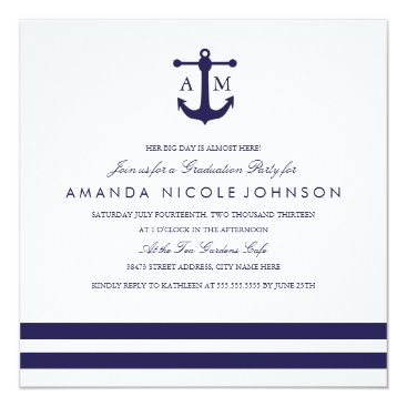 Beach Themed Nautical Navy Graduation Party Invite