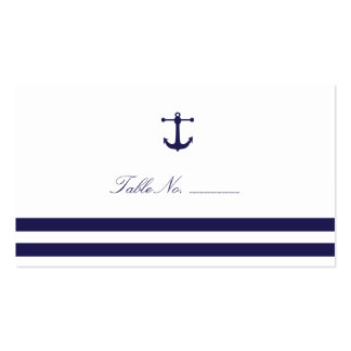 Nautical Navy Guest Table Escort Cards Double-Sided Standard Business Cards (Pack Of 100)