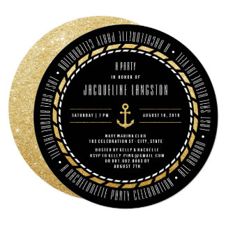 Nautical Navy Last Sail Bachelorette Party Invite