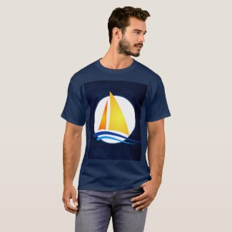 Nautical Navy Leather with Sailboat Print T-Shirt