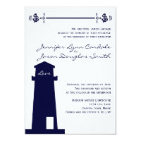 Nautical Navy Lighthouse Anchor Wedding Invitation