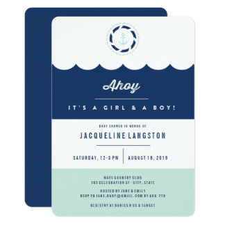Nautical Navy Mint Ahoy Twins Baby Shower Invite