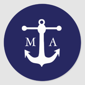 Nautical Navy Monogram Stickers