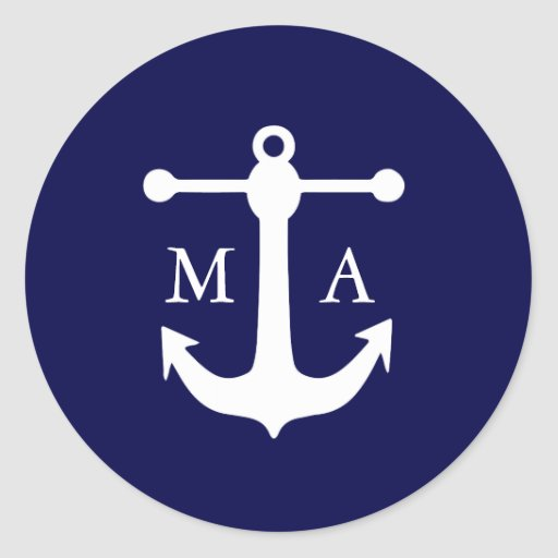 Nautical Navy Monogram Stickers