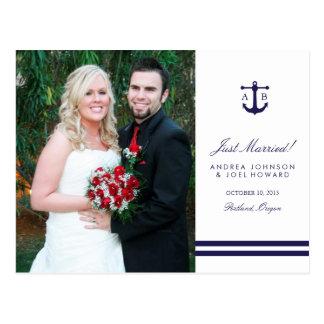 Nautical Navy Photo Wedding Announcement Postcard
