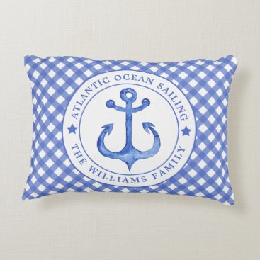 Beach Themed Nautical  Navy Plaid Personalized Accent Pillow