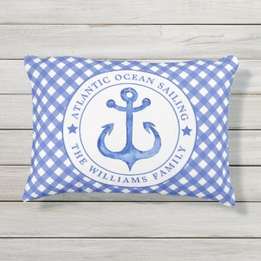 Beach Themed Nautical  Navy Plaid Personalized Outdoor Pillow