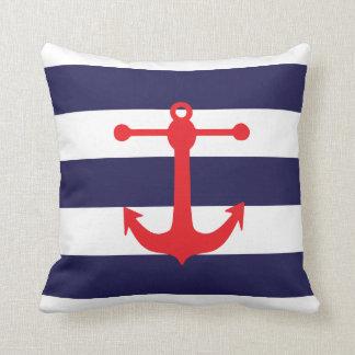 Nautical Navy & Red Throw Pillow