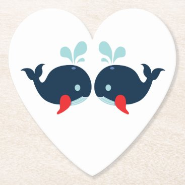 Beach Themed Nautical Navy Red Whales Beach Wedding Party Paper Coaster