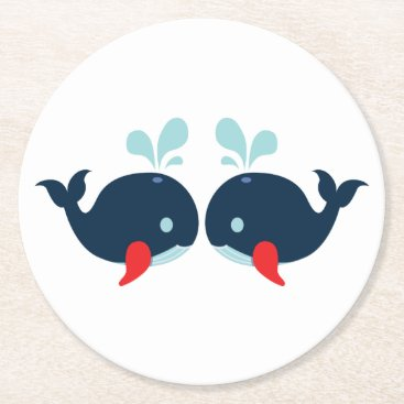 Beach Themed Nautical Navy Red Whales Beach Wedding Party Round Paper Coaster