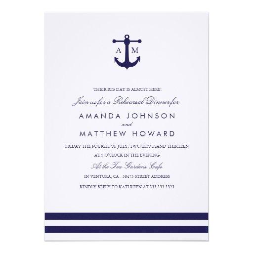 Nautical Navy Rehearsal Dinner Invite