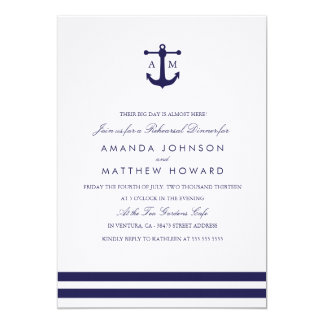 Nautical Navy Rehearsal Dinner Invite Personalized Announcements