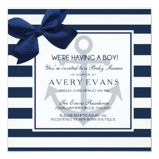Nautical Navy Ribbon Anchor It's a Boy Baby Shower Card at Zazzle