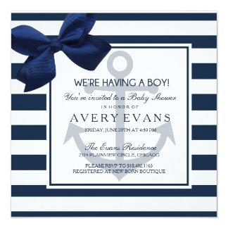 Nautical Navy Ribbon Anchor It's a Boy Baby Shower Card