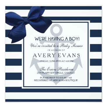 GreenLeafDesigns Nautical Navy Ribbon Anchor It's a Boy Baby Shower Card