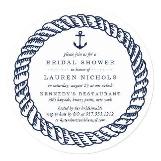 Nautical Navy Rope and Anchor Bridal Shower Card