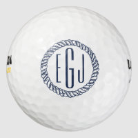 Nautical Navy Rope Three Initial Monogram Golf Balls
