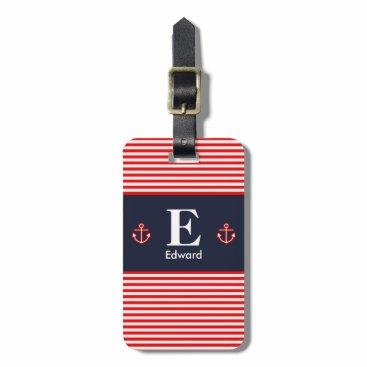 Nautical Navy Royal Red White Stripes Monogram Luggage Tag
