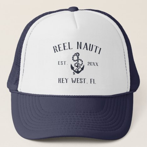Nautical Navy Rustic Anchor Custom Boat Name Trucker Hat