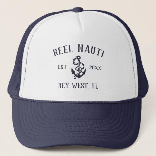 Nautical Navy Rustic Anchor Custom Boat Name Trucker Hat