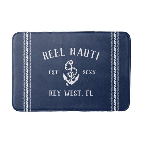 Nautical Navy Rustic Anchor   Your Boat Name Bath Mat