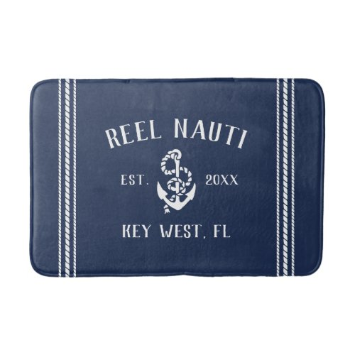 Nautical Navy Rustic Anchor | Your Boat Name Bath Mat