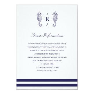 Nautical Navy Seahorse Wedding Insert Custom Announcements