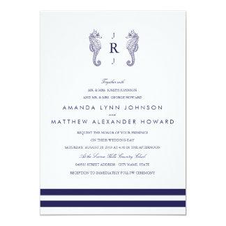 Nautical Navy Seahorse Wedding Invitation Custom Invitation