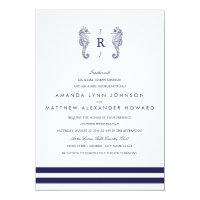 Nautical Navy Seahorse Wedding Invitation