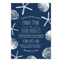 Nautical Navy Starfish Seashells Beach Wedding Invitation
