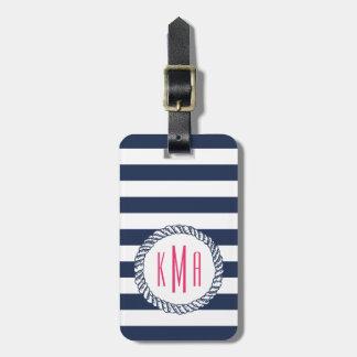 Nautical Navy Stripe & Pink Monogram Bag Tag