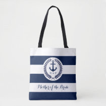 Nautical Navy Stripe Wedding Party Customized Tote Bag