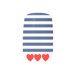Nautical Navy stripes and red hearts False Nails Minx Nail Art