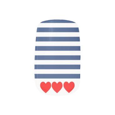 Valentines Themed Nautical Navy stripes and red hearts False Nails Minx Nail Art