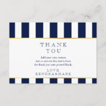 Nautical, Navy Stripes Thank You Cards