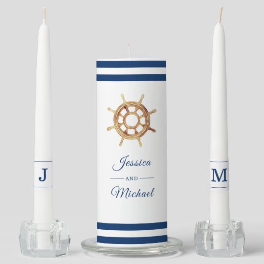 Nautical Navy Stripes Watercolor Steering Wheel Unity Candle Set