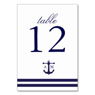origamiprints Nautical Navy Table Number Card
