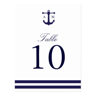 Nautical Navy Table Number Postcard