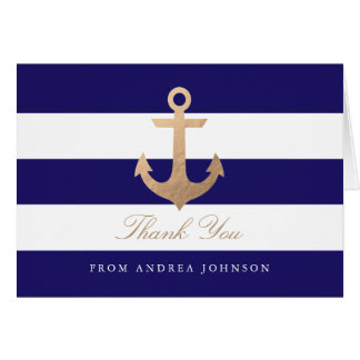 Nautical Navy Thank You Stationery Note Card